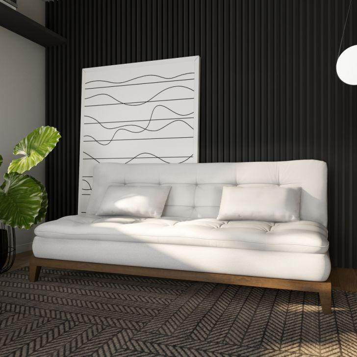 Sofá-cama 3 Lugares Casal Qualidade Base E Pés De Madeira Couro Sintético Branco