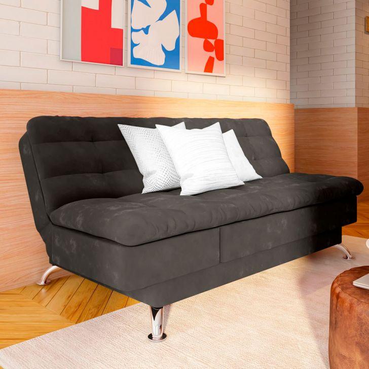 Sofá-cama 3 Lugares Casal Agio Suede Cinza