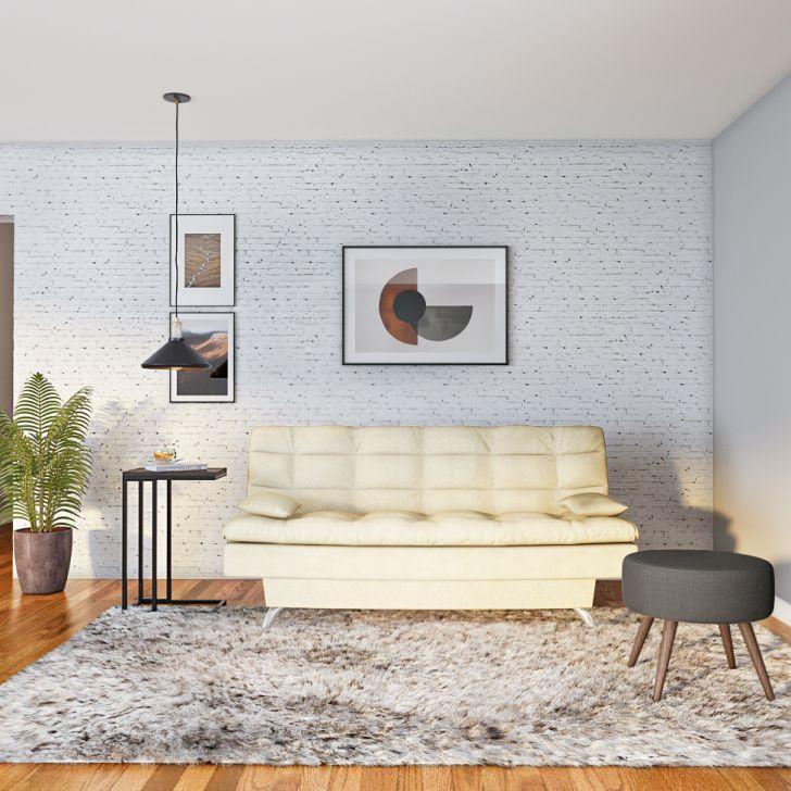 Sofá-cama 3 Lugares Casal Autenticidade Suede Velvet Bege