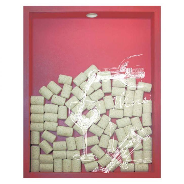 Quadro Porta Rolhas de Vinho Wine Taça 32x42x4cm Vermelho em até 1 vezes sem juros! Devolução grátis em até 30 dias.