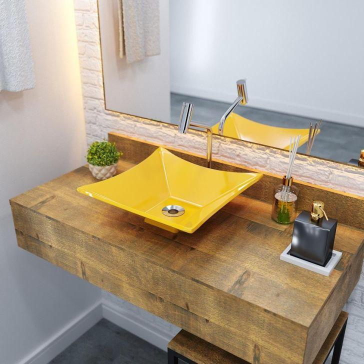 Kit Cuba L34 Com Torneira Link 1062 Metal + Válvula 1'' (2,6cm) + Sifão Pvc + Flexível Amarelo