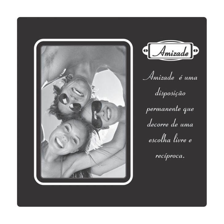Porta Retrato Plaquet Amizade Para 1 Foto 10x15 Preto Kapos
