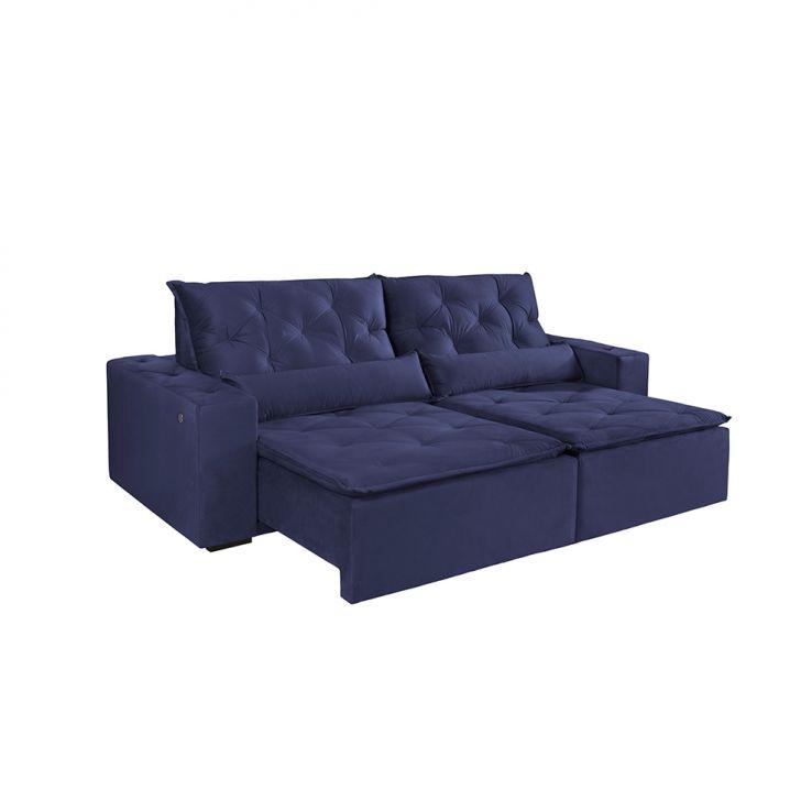 Sofá 4 Lugares Retrátil E Reclinável Macaé Com Entrada Usb Veludo Azul 250 Cm