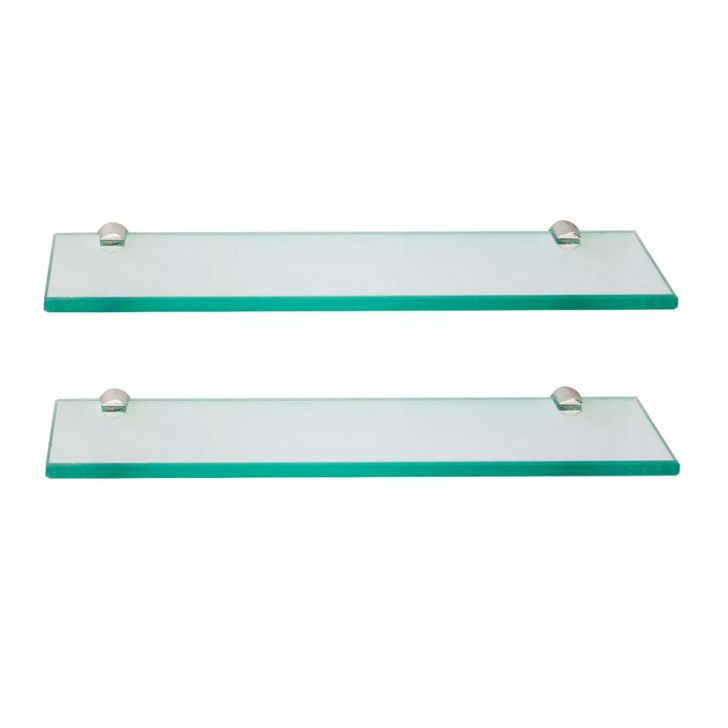 Conjunto Com 2 Prateleiras De Vidro Arpex Incolor (40x20)
