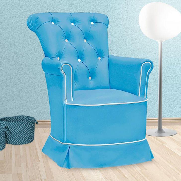 Poltrona Amamentação Paola Sem Puff Corino Azul E Branco
