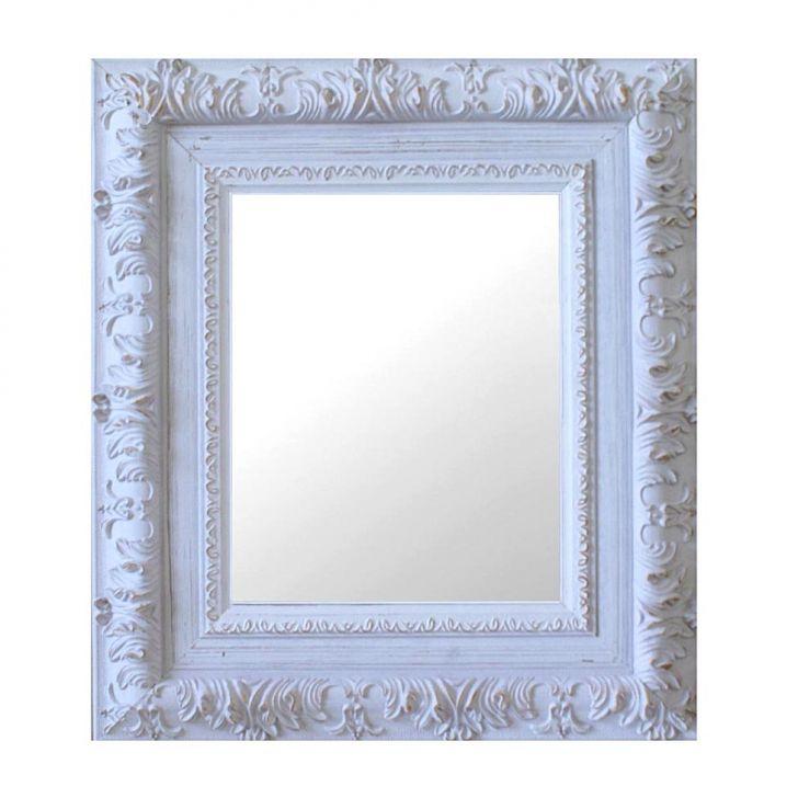 Espelho Moldura Rococó Externo 16272 Branco Patina Art Shop