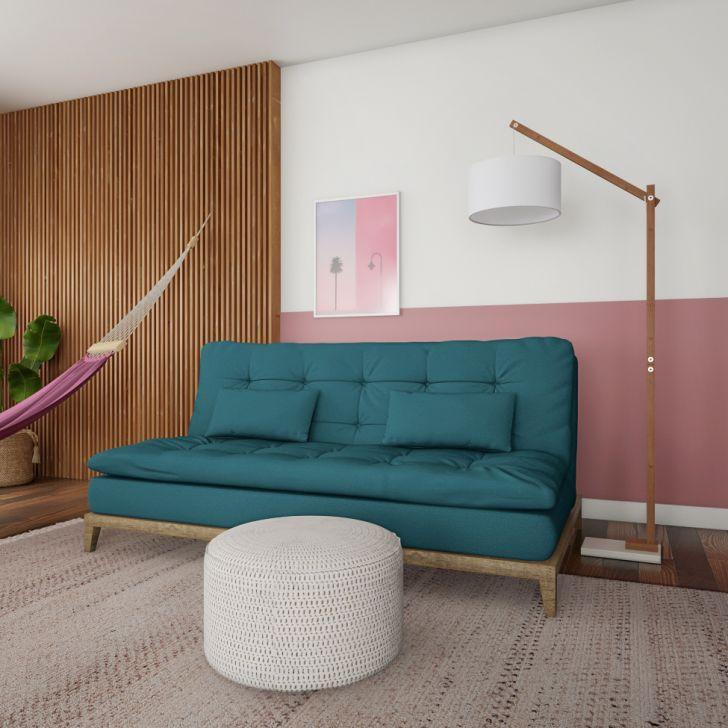 Sofá-cama 3 Lugares Casal Qualidade Base E Pés De Madeira Suede Azul