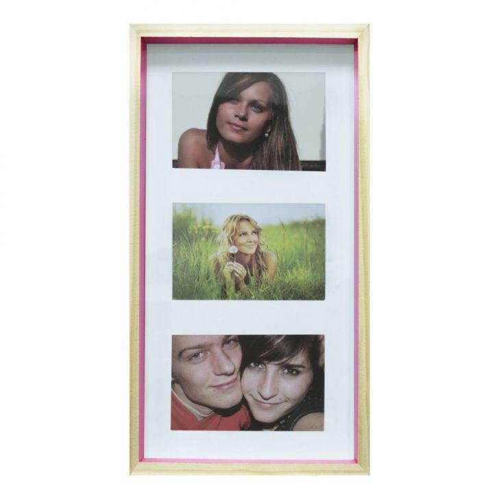 Quadro Para Fotos Wood Natural E Pink 20x40cm