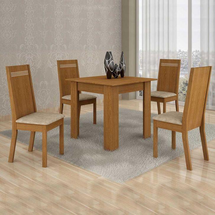 Conjunto de Mesa Ouro Preto 80 cm com 4 Cadeiras Suede Nogueira e Bege Cod: