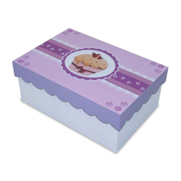 Caixa Cupcake   20x13x8cm Branco Kapos