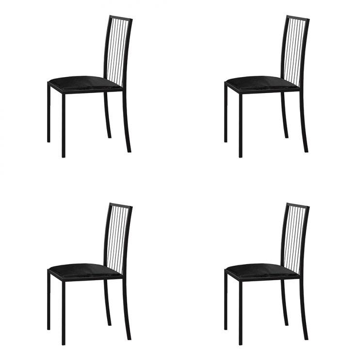 Conjunto Com 4 Cadeiras Atos Couríssimo Preto