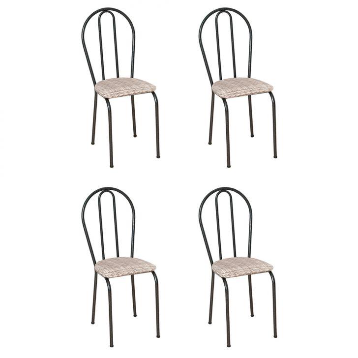 Conjunto 4 Cadeiras Hécate Cromo Preto E Estampa Rattan