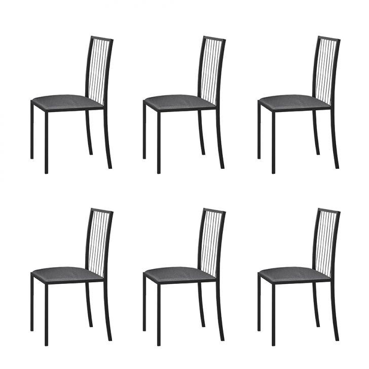 Conjunto Com 6 Cadeiras Atos Linho Cinza E Grafite