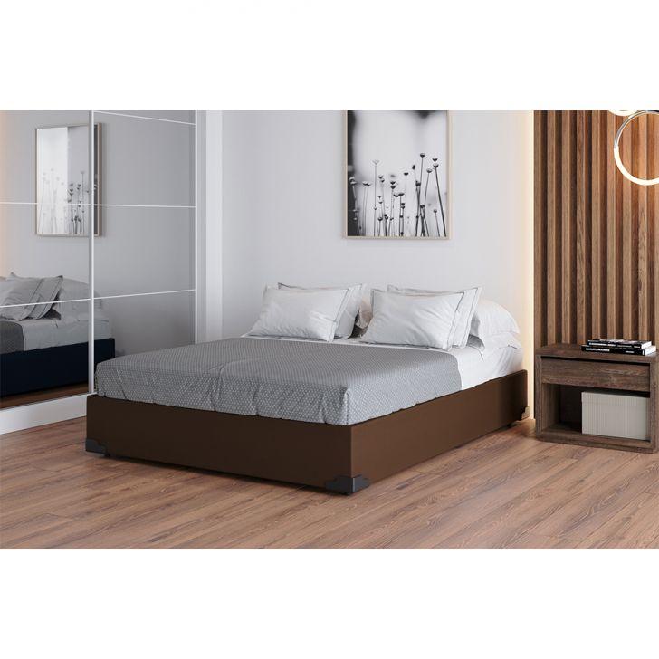 Base Para Cama Box Casal Joe Suede (36x138x188) Marrom