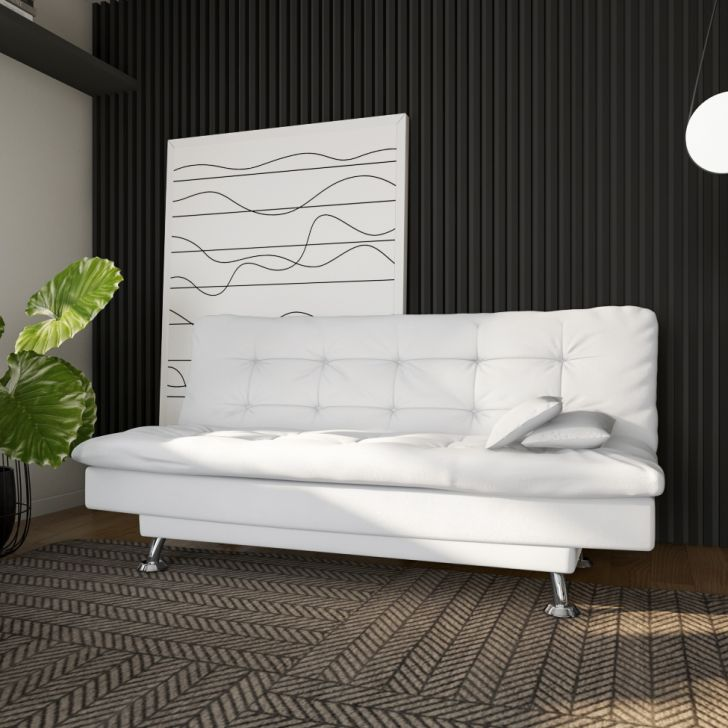 Sofá-cama 3 Lugares Casal Excelencia Couro Sintético Branco