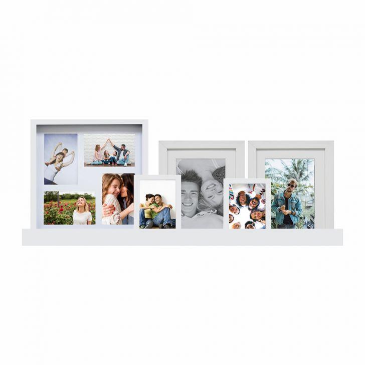 Conjunto De Painel E 4 Porta-retratos E Prateleira 34x80 Cm Spring Branco