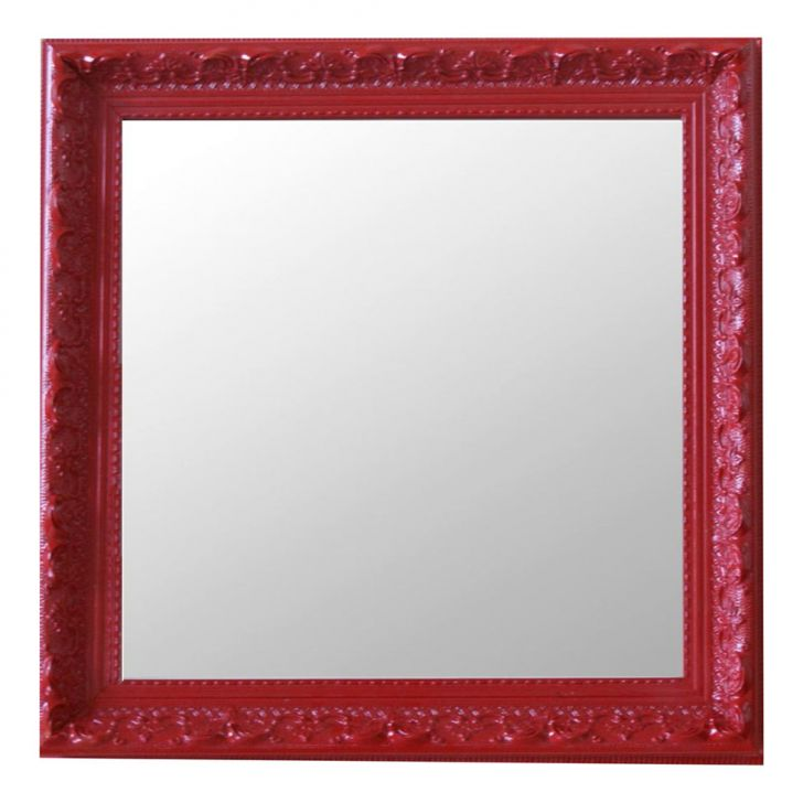 Espelho Moldura Rococó Raso 16394 Vermelho Art Shop