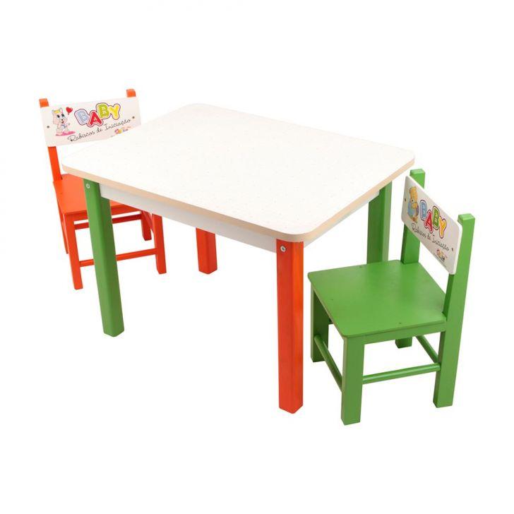 Mesa Baby Rabiscos De Iniciação Com 2 Cadeiras