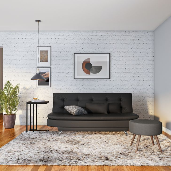 Sofá-cama 3 Lugares Casal Premium Extra Couro Sintético Preto