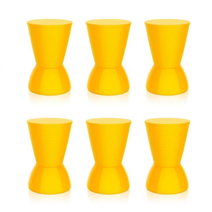 Conjunto Com 6 Bancos   Banquetas Nick Amarelo