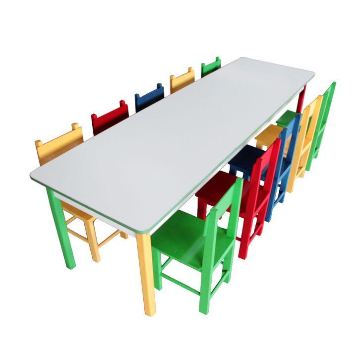 Conjunto De Mesa Retangular Com 10 Cadeiras Jah Colorido