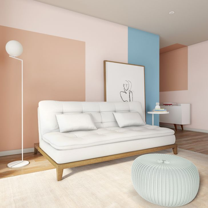 Sofá-cama 3 Lugares Casal Raridade Base E Pés De Madeira Couro Sintético Branco