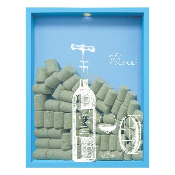 Quadro Porta Rolhas de Vinho Wine Garrafa 32x42x4cm Azul em até 1 vezes sem juros! Devolução grátis em até 30 dias.