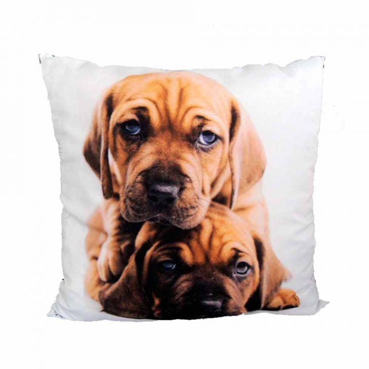 Almofada Impressão Digital Dois Cachorros Marrom 42x42cm Uniart