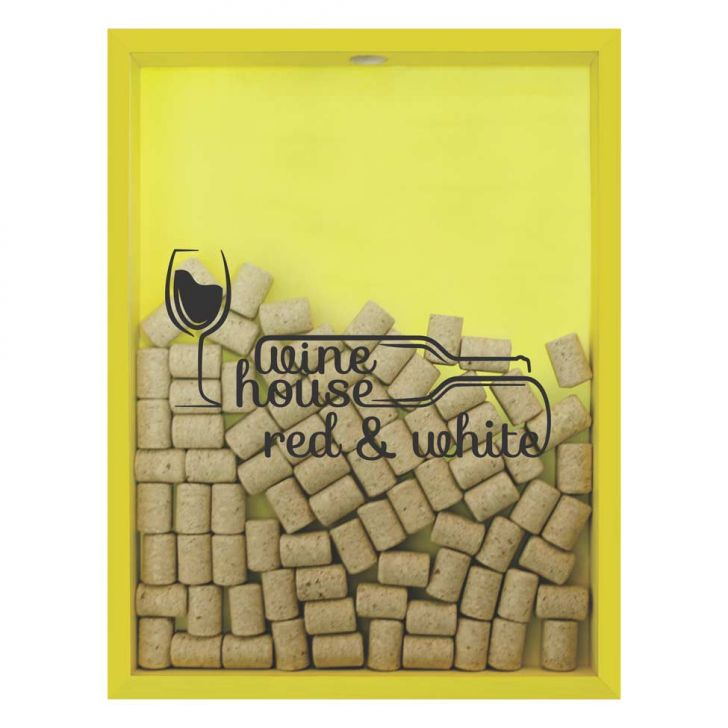 Quadro Porta Rolhas de Vinho Wine House 32x42x4cm Amarelo em até 1 vezes sem juros! Devolução grátis em até 30 dias.
