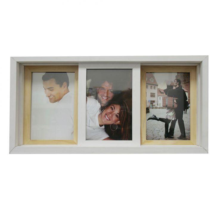 Porta-retrato Para 3 Fotos Pisa Branco E Madeira
