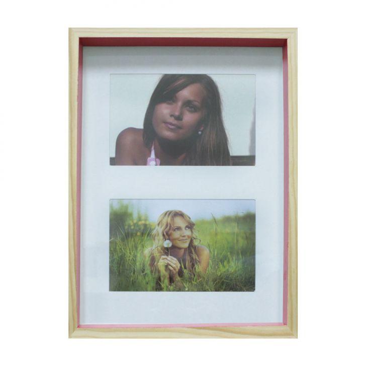 Quadro Para Fotos Wood Natural E Pink 20x30cm