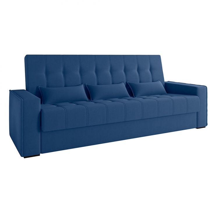 Sofá-cama Casal 3 Lugares Lívia Suede Azul