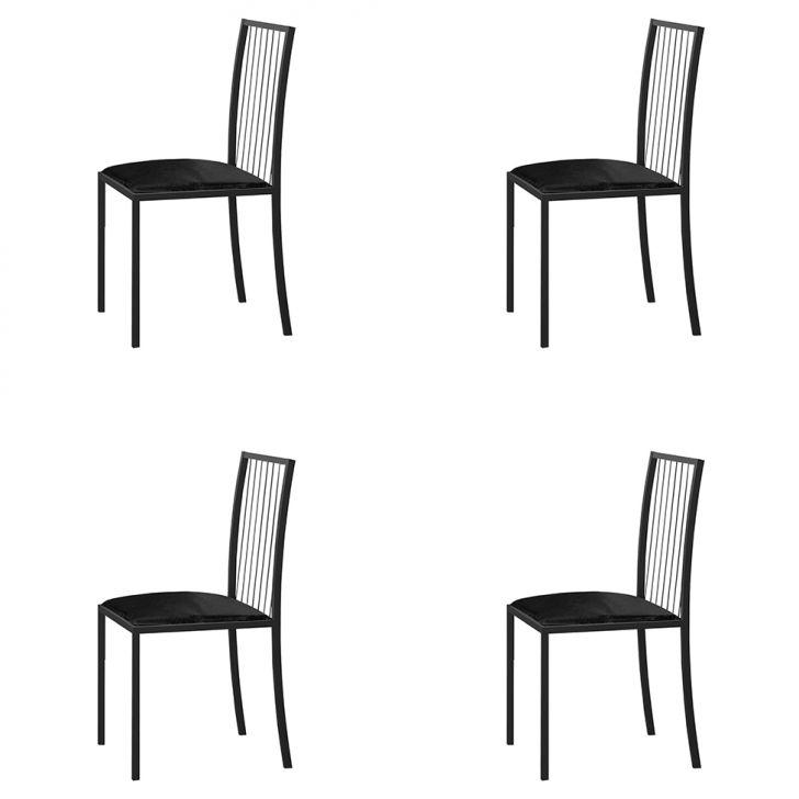 Conjunto Com 4 Cadeiras Atos Couríssimo Preto E Grafite