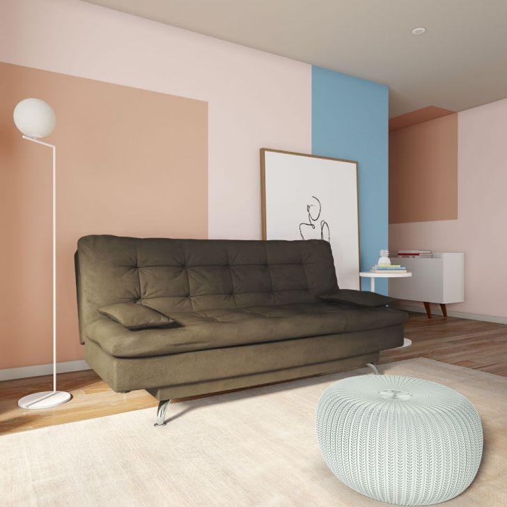 Sofá-cama 3 Lugares Casal Autenticidade Suede Café