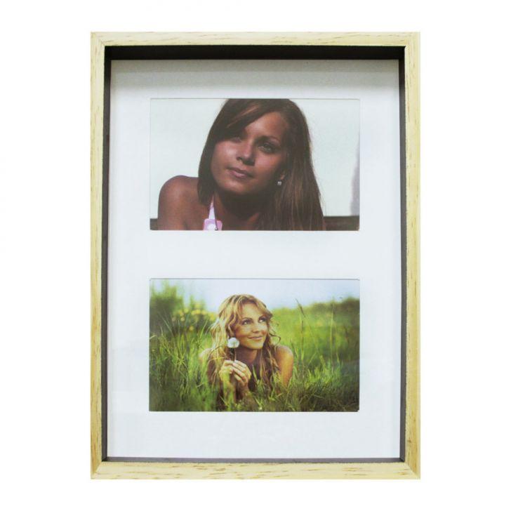 Quadro Para Fotos Wood Natural E Preto 20x30cm