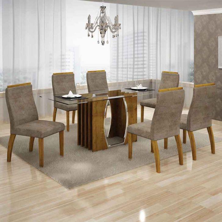 Conjunto de Mesa Euro com 6 Cadeiras Canela e Cappuccino 180cm Cod: