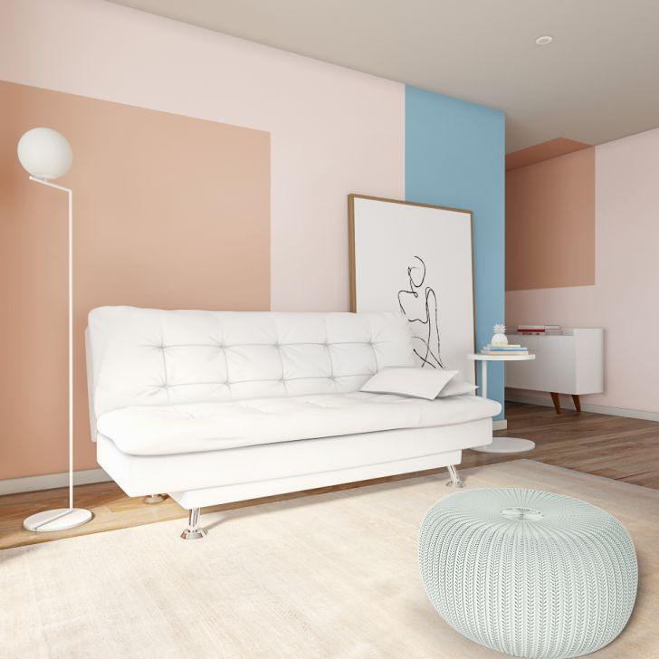 Sofá-cama 3 Lugares Casal Estilo Couro Sintético Branco