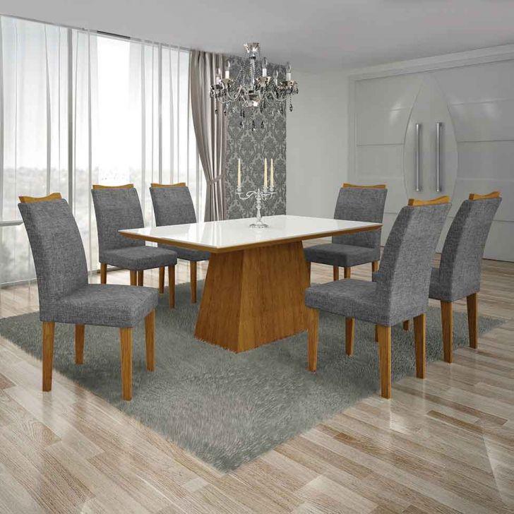 Conjunto de Mesa Pampulha I com 6 Cadeiras Imbuia Mel e Cinza 180cm Cod: