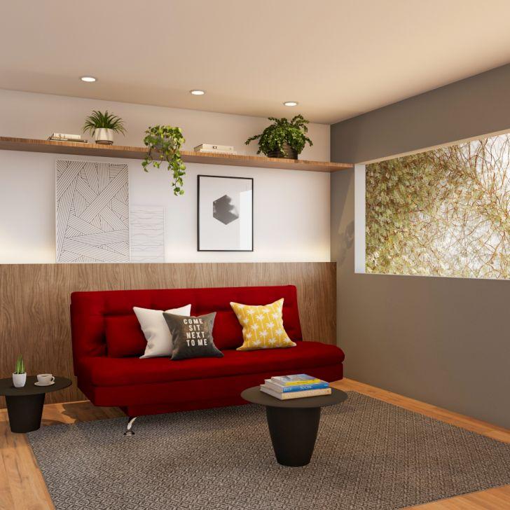 Sofá-cama Casal 3 Lugares Qualidade Suede Vermelho