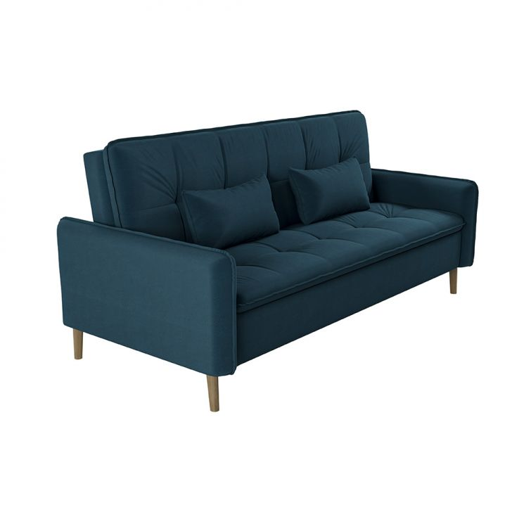 Sofá-cama Casal 3 Lugares Donna Veludo Azul Turquesa
