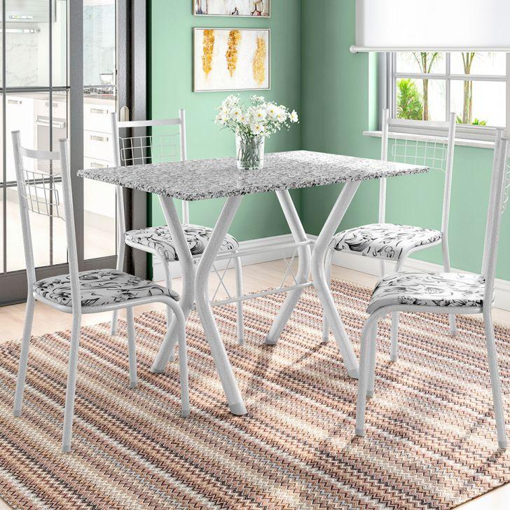 Conjunto de Mesa Miame 110 cm com 4 Cadeiras Lisboa Branco e Branco Floral