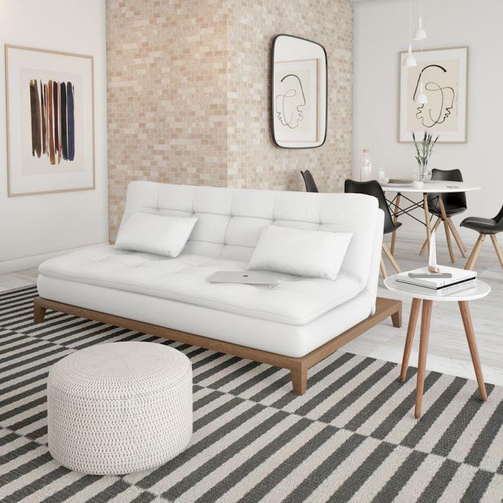 Sofá-cama 3 Lugares Casal Autenticidade Base E Pés De Madeira Couro Sintético Branco