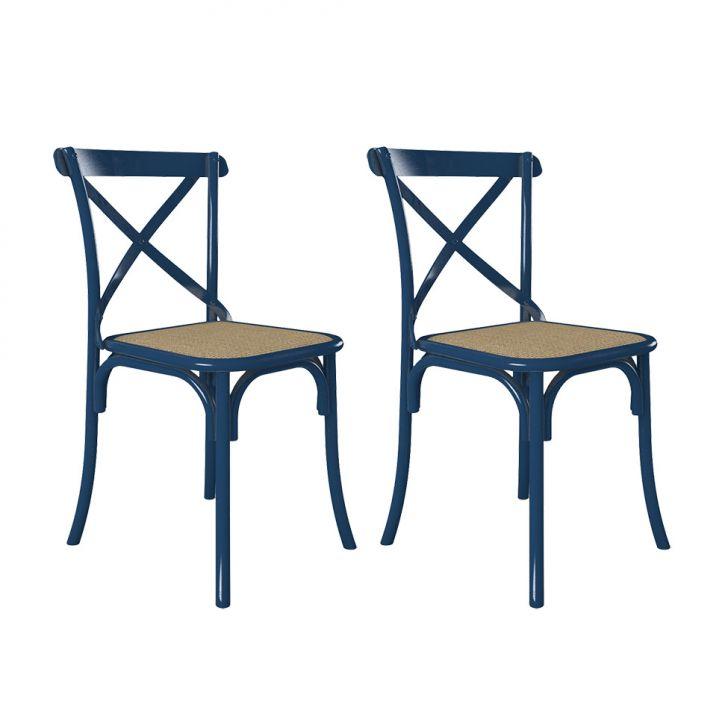 Conjunto 2 Cadeiras Katarina Azul Noturno e Bege New Green Cod: 7899892222910