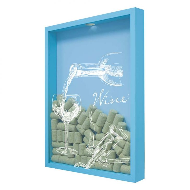 Quadro Porta Rolhas de Vinho Wine Taça 32x42x4cm Azul em até 1 vezes sem juros! Devolução grátis em até 30 dias.