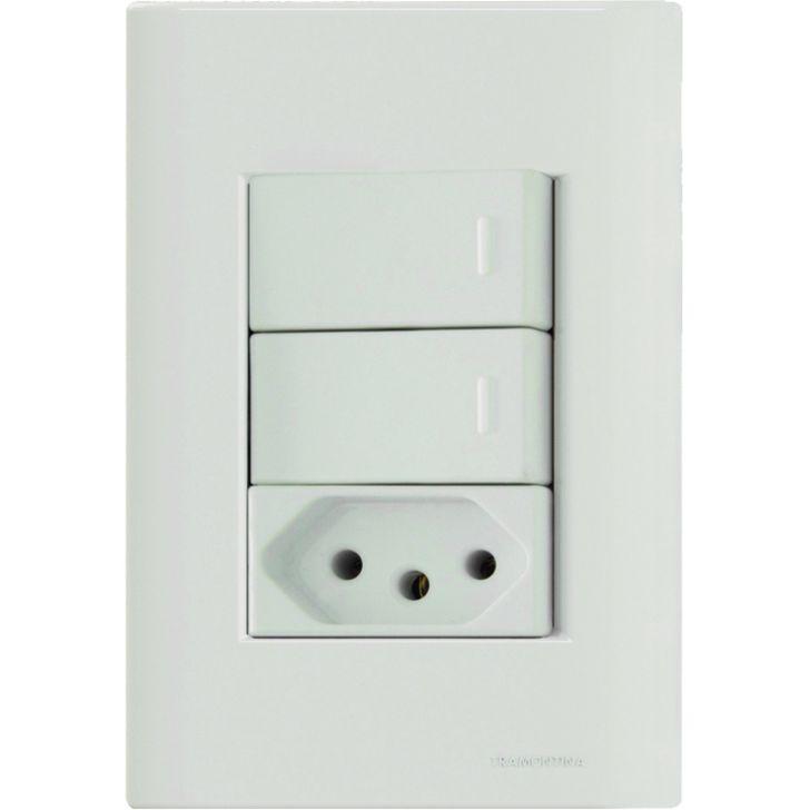 Conjunto 2 Interruptores Paralelo + Tomada Nbr 10A