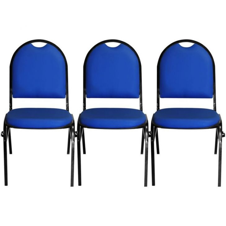 Kit 3 Cadeiras Hoteleira Auditório Hotel Empilhável Fixa Azul – Pethiflex