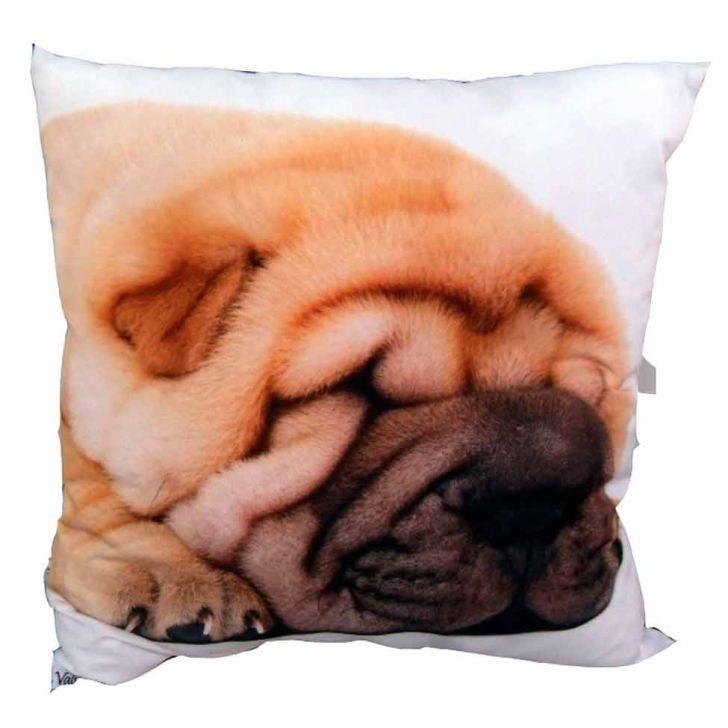 Almofada Impressão Digital Cachorro Marrom 42x42cm Uniart