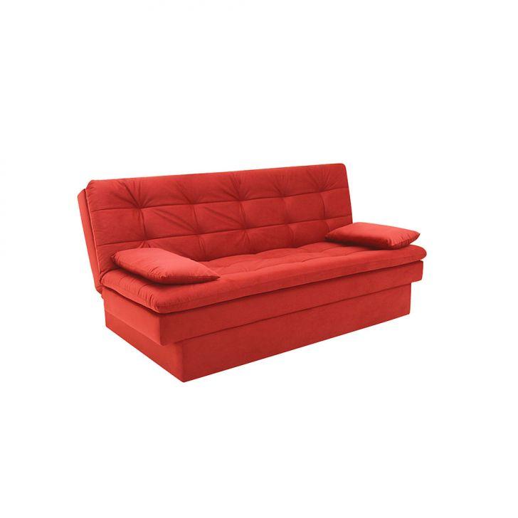 Sofá-cama Casal 3 Lugares Lille Suede Vermelho