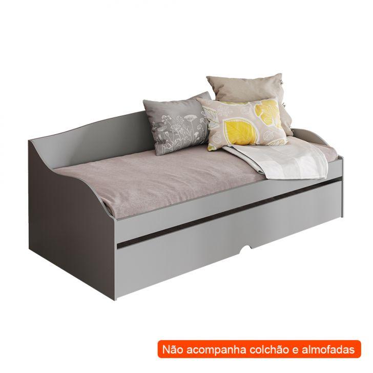 Sofá-cama Com Cama Auxiliar Lais Cinza