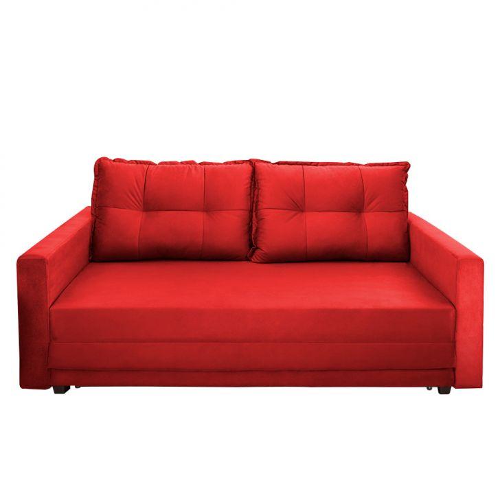Sofá-cama Casal 3 Lugares Trancoso Suede Liso Vermelho